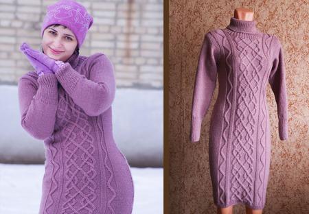 Вязанное платье (араны) ручной работы на заказ