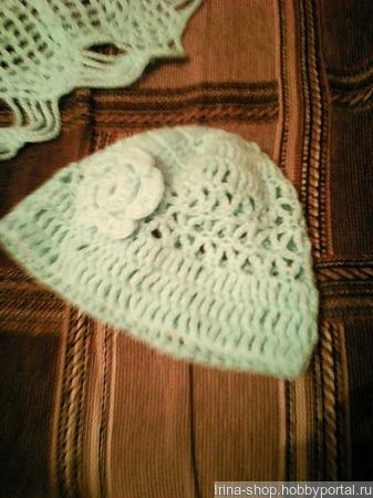 Шаль и шапочка из толстой пряжи ручной работы на заказ
