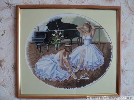 "Вышитая картина ""Балерины"" ручной работы на заказ"