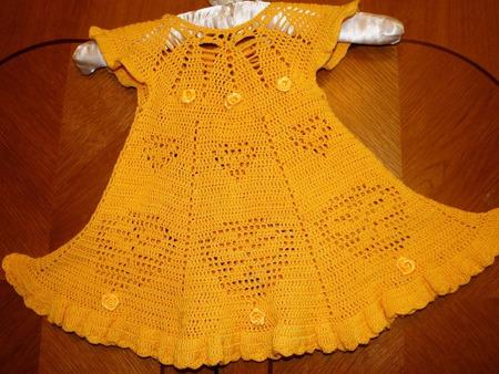 """Платье вязанное крючком для принцессы """"Солнышко"""" ручной работы на заказ"""