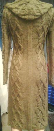 Вязаное пальто с капюшоном ручной работы на заказ