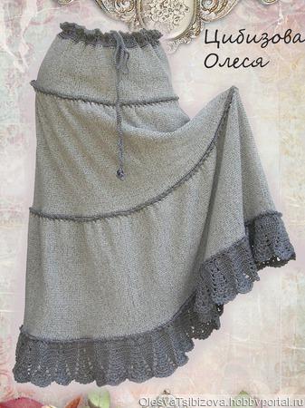 "Вязаная юбка ""Темная орхидея-2"" ручной работы на заказ"