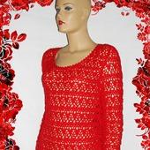 """Вязаный ажурный свитер  """"Красная роза-прекрасная"""""""