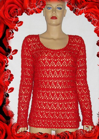 """Вязаный ажурный свитер  """"Красная роза-прекрасная"""" ручной работы на заказ"""
