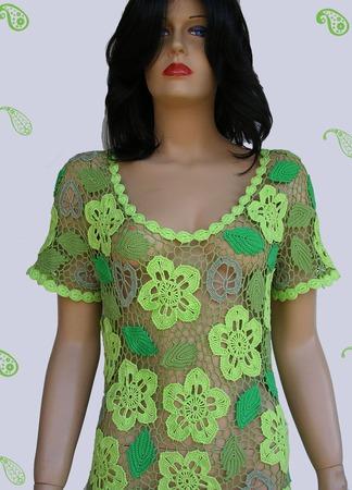 """Вязаное платье """"Viridi flores"""" ручной работы на заказ"""