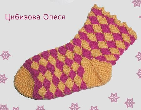 """Вязаные носки """"Ананасы всех цветов"""" ручной работы на заказ"""