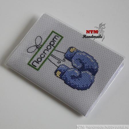 """Обложка на паспорт """"Боксерские перчатки"""" ручной работы на заказ"""