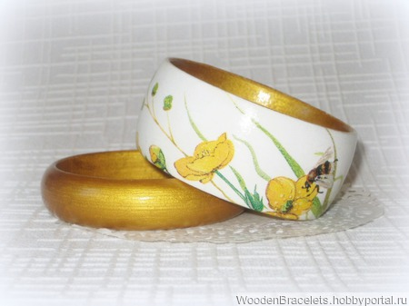 Белый и золотой браслеты ручной работы на заказ