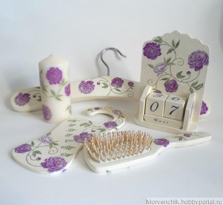 """Набор аксессуаров для сборов невесты """"Лиловые завитки роз"""" ручной работы на заказ"""