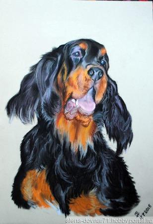 "Картина ""Собака"" ручной работы на заказ"