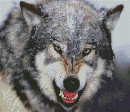 """Схема вышивки """"Волк"""" ручной работы на заказ"""
