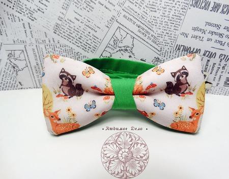 Галстук-бабочка с енотами ручной работы на заказ