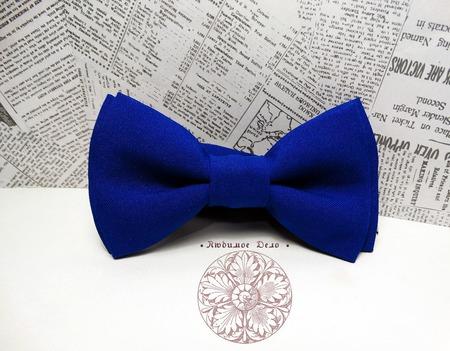 Галстук-бабочка синяя ручной работы на заказ