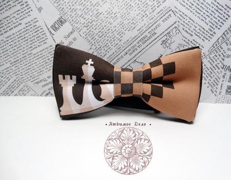 """Галстук-бабочка """"Шахматы"""" ручной работы на заказ"""