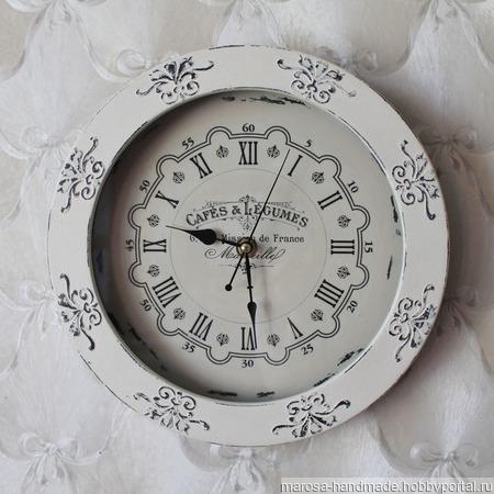 Часы настенные Шебби ручной работы на заказ