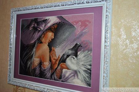 """Картина """"Девушка с голубями"""" ручная работа ручной работы на заказ"""