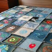 Покрывало(одеяло) пэчворк с вышивкой