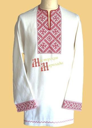 Рубаха без ворота Цветок Папоротника ручной работы на заказ