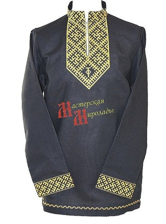 """Рубаха воинская """"Цветок папоротника и чертог"""" ручной работы на заказ"""