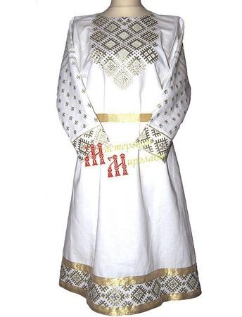 """Платье-рубаха праздничное """"Славянка"""" ручной работы на заказ"""