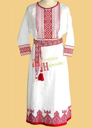 Платье славянское свадебное ручной работы на заказ