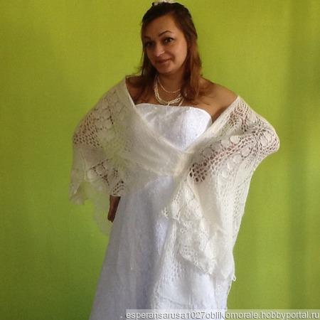 Свадебная шаль из ангоры ручной работы на заказ