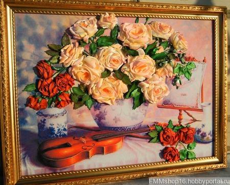 Розы со скрипкой ручной работы на заказ