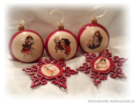 Набор ёлочных украшений «Зимние забавы» ручной работы на заказ