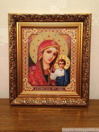 Икона Казанской Божьей матери ручной работы на заказ