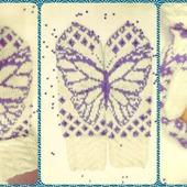 "Варежки ""Бабочки на снегу"""