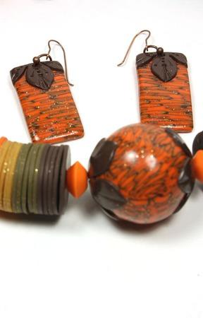 Колье и серьги из полимерной глины ручной работы на заказ
