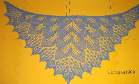 """Косынка """"Голубые листья """" ручной работы на заказ"""