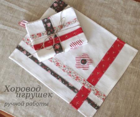 Полотенце кухонное с аппликацией Полоски ручной работы на заказ