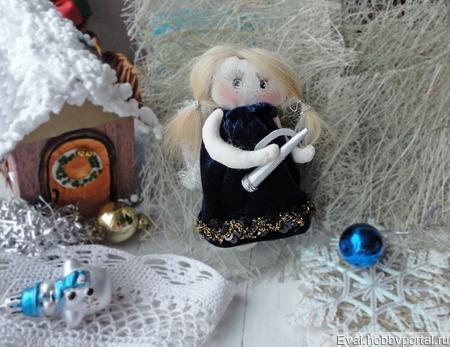 Рождественский ангел с дудочкой ручной работы на заказ