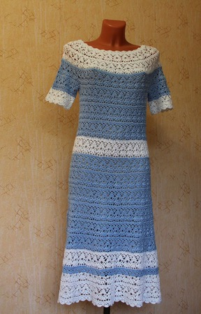 """Платье ажурное """"Бело-голубые лилии"""" ручной работы на заказ"""