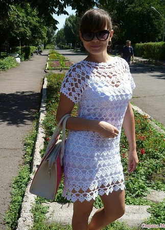 "Платье крючком ""Ажур-гламурррр"" ручной работы на заказ"