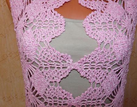 Топ розовый с широкой каймой ручной работы на заказ