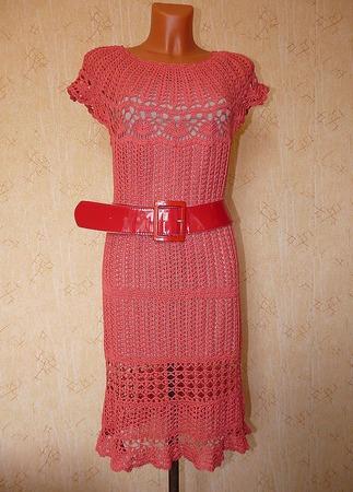 """Платье с круглой кокеткой ажурное """"коралловое"""" ручной работы на заказ"""