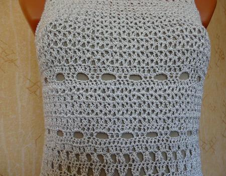 """Платье """"Белое с ажурными полосами"""" ручной работы на заказ"""
