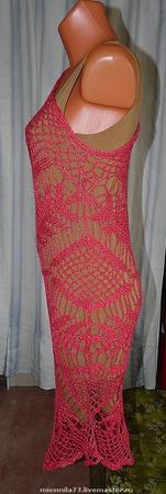 """Платье с асимметричной линией плеча """"Изумительная салфеточка"""" ручной работы на заказ"""