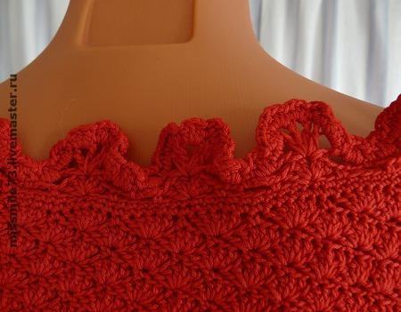 """Платье комбинированное (вязание+шитье) """"All red"""" ручной работы на заказ"""