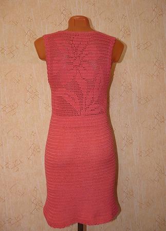 Платье крючком с ажурной спинкой на заказ ручной работы на заказ