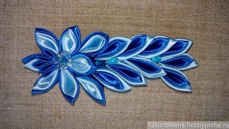 "Заколка ""Голубой цветок"" ручной работы на заказ"