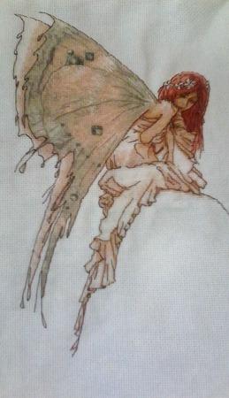 Вышивка  фея-бабочка ручной работы на заказ