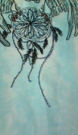 Вышивка сова с ловцом ручной работы на заказ