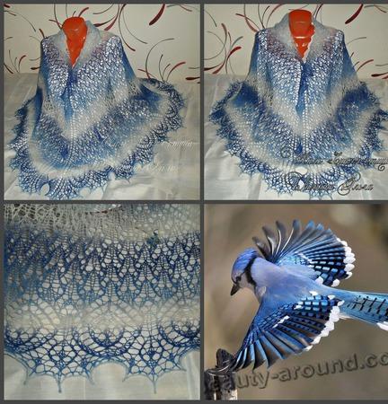 """Шаль """"Синяя птица"""" ручной работы на заказ"""