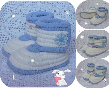 Плюшевые сапожки для мальчика и девочки ручной работы на заказ