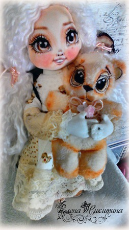 Куколка - ангел Софи и мишка- Карамелька ручной работы на заказ