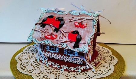 """Пряничный домик """"Снегири на рябине"""" ручной работы на заказ"""