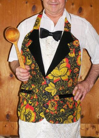 """Фартук-пиджак мужской льняной """"Хохлома""""(пиджак с карманами, бабочка) ручной работы на заказ"""